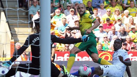 Teemu Pukki notched in the first half of Norwich City's Premier League encounter against Chelsea Pic