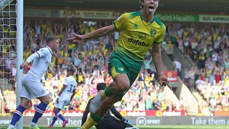 Todd Cantwell opened his Premier League account for Norwich City against Chelsea Picture: Paul Chest