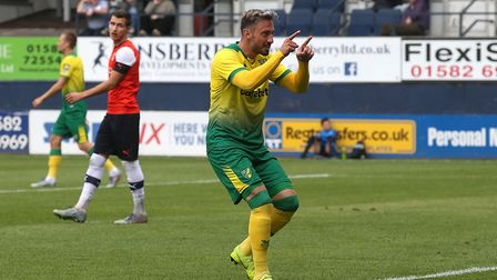 Josip Drmic of Norwich celebrates scoring his sides 2nd goal during the Pre-season friendly match at