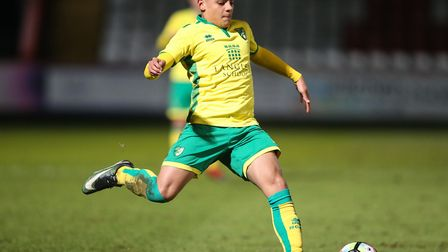 Max Aarons as a 17-year-old, in FA Youth Cup fifth round action against Tottenham Hotspur for Norwic