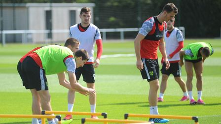 Norwich City train ahead of Premier League match vs Chelsea 22/08/2019 Timm Klose and Christoph Zimm