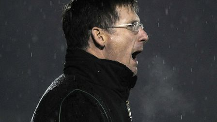 Norwich manager Glenn Roeder shouts at his players during the FA Cup defeat at Bury in 2008 Picture: