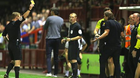 Canaries head coach Daniel Farke was shown a yellow card by referee John Busby during the defeat at