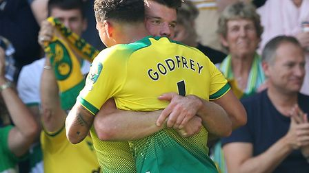 Norwich City's centre backs celebrate a 3-1 Premire Leaue win against Newcastle United Picture: Paul
