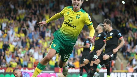 Todd Cantwell of Norwich celebrates scoring his sides 2nd goal during the Premier League match at Ca