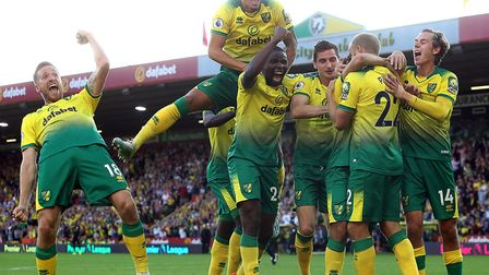 Teemu Pukki of Norwich celebrates scoring his sides third goal in a 3-2 Premier League win over Manc
