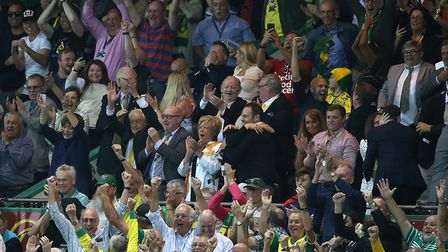 The Norwich board celebrate victory at the end of the Premier League match at Carrow Road, NorwichPi
