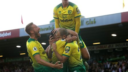 Teemu Pukki of Norwich celebrates scoring his sides 3rd goal during the Premier League match at Carr
