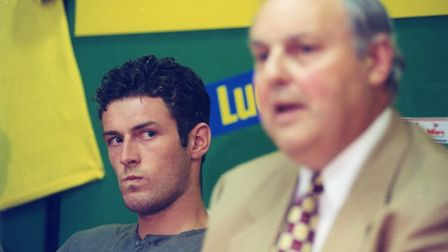 Norwich City chairman Robert Chase, right, and Chris Sutton attended an extraordinary press conferen