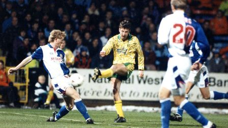 Sutton in action against Blackburn at Carrow Road in 1994, the team he would join for £5m later in t