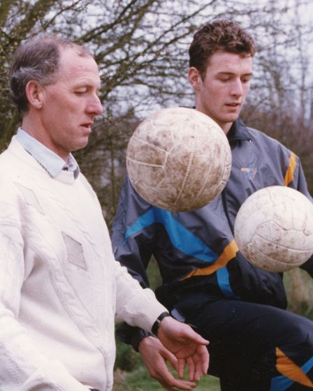 Chris Sutton, right, alongside his father, Mike, who also played for Norwich City Picture: Archant L