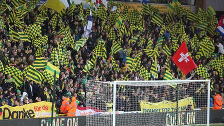 The lower Barclay at Carrow Road ahead of Norwich City's promotion deciding win over Blackburn last