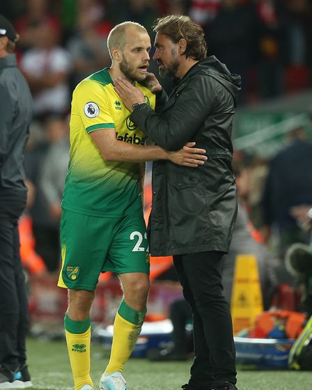 Will Teemu Pukki be able to break through the champions' backline at Carrow Road? Picture: Paul Ches