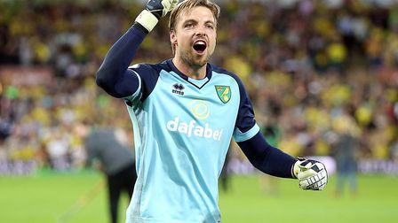 Tim Krul of Norwich celebrates victory at the end of thematch at Carrow Road, Norwich, Picture by Pa