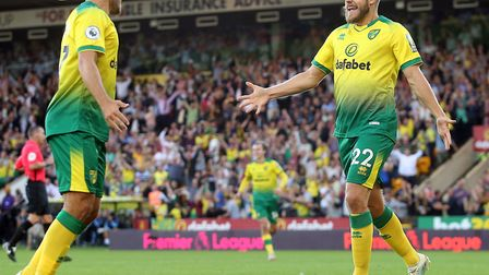 Teemu Pukki combined with Emi Buendia to seal a 3-2 Premier League win over Manchester City Picture: