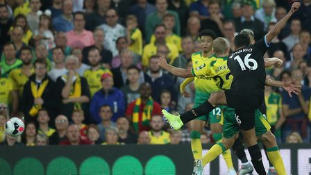 Norwich keeper Tim Krul couldn't stop Rodri's powerful strike for Manchester City Picture: Paul Ches