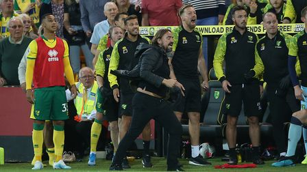 Norwich Head Coach Daniel Farke shows his anger at Referee Kevin Friend during the Premier League ma