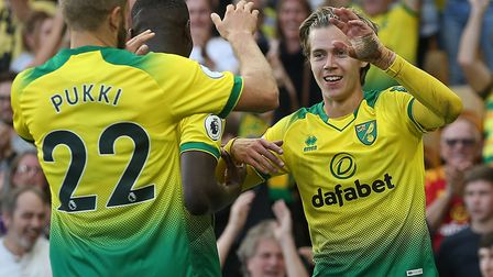 Todd Cantwell and Teemu Pukki combined for the Canaries' second goal against Manchester City Picture
