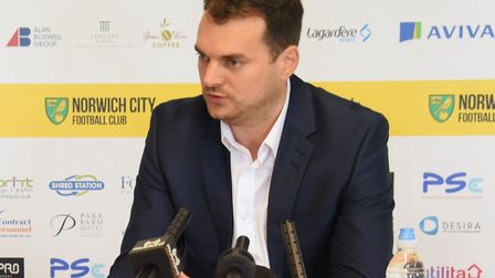 Norwich City sporting director Stuart Webber, pictured speaking to David Freezer at Colney during hi