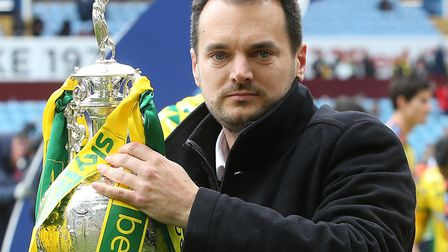 Norwich City sporting director Stuart Webber with the Championship trophy Picture: Paul Chesterton/F