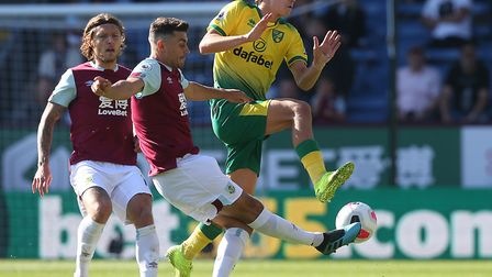 Todd Cantwell tries to block a shot in Norwich City's 2-0 Premier League defeat at Burnley Picture: