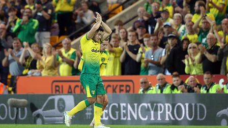 Emi Buendia of Norwich gets a huge round of applause as he is substitued after a chart topping displ