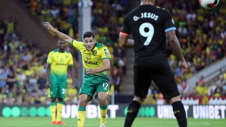 Emi Buendia of Norwich has a shot on goal from a free kick during the Premier League match at Carrow