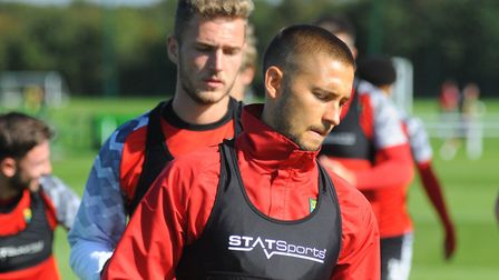 Norwich City midfielder Moritz Leitner was training on Thursday at Colney after missing the Manchest