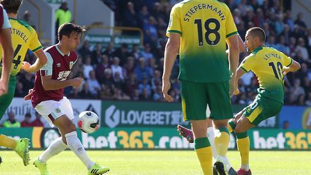 Moritz Leitner came the closest to scoring for Norwich City at Burnley, with this shot which hit the