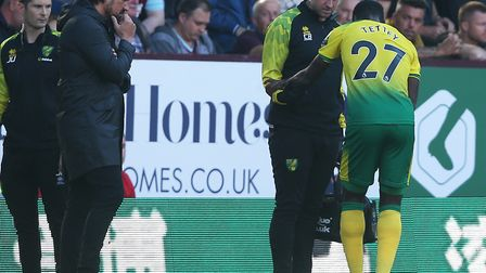 Alex Tettey was the latest addition to Norwich City's growing casualty list against Burnley Picture: