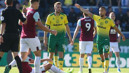Moritz Leitner appeals to referee David Coote during Norwich City's defeat at Burnley Picture: Paul
