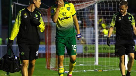 Norwich City defender Timm Klose couldn't hide his frustration as he limped off at Crawley Picture: