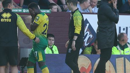 Alex Tettey was forced off early with a muscle injury in Norwich City's 2-0 Premier League defeat at