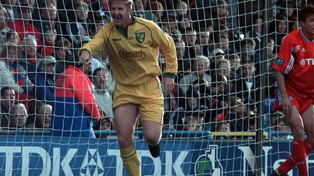 Iwan Roberts celebrating a goal at his least favourite ground in October, 1998 Picture: Archant