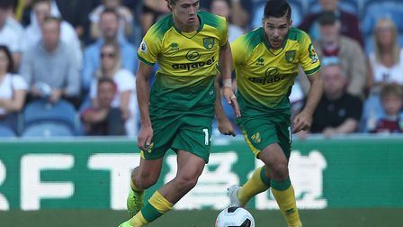 Todd Cantwell, left, and Emi Buendia on the attack for Norwich City during Saturday's 2-0 defeat at