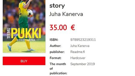 Juha Kanerva's book 'Teemu Pukki - The Whole Story' is being sold in Finland Picture: readme.fi