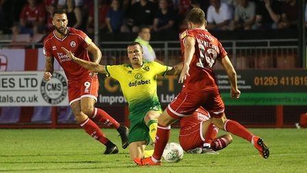 Philip Heise represented the Canaries at Crawley Town for the second time this season Picture: PAUL