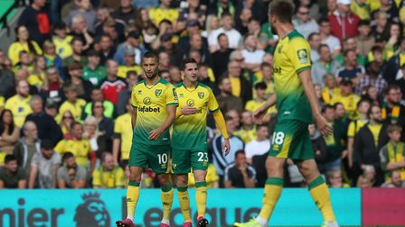 Norwich players look dejected after conceding the first goal Picture: Paul Chesterton/Focus Images L