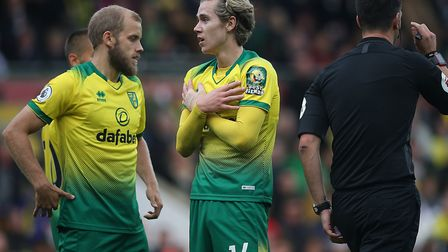 Teemu Pukki and Todd Cantwell pleased in vain for a penalty during the first half of City's loss to