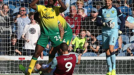 Ibrahim Amadou is penalised after bringing down Chris Wood Picture: Paul Chesterton/Focus Images Ltd