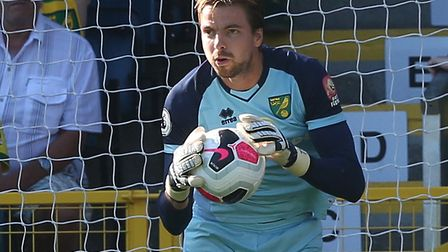 Norwich City keeper Tim Krul damaged his lower back in the warm up at Burnley Picture: Paul Chestert