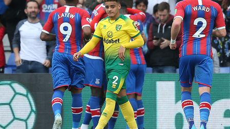 Max Aarons avoids the Palace celebrations after Norwich City fell behind to a penalty in the first h