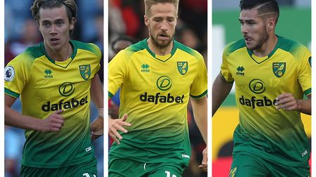 Norwich City's starting attacking midfield trio so far this season has been, from left, Todd Cantwel