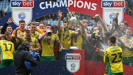 The Canaries celebrated their title with victory at Aston Villa Picture: Paul Chesterton/Focus Image
