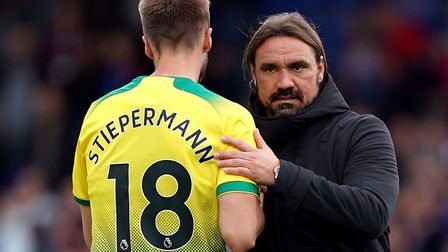 Head coach Daniel Farke with Marco Stiepermann after City's loss at Palace last weekend Picture: Joh