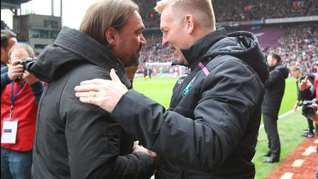 Aston Villa manager Dean Smith and Daniel Farke ahead of the famous match at Villa Park last season