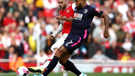 Josh King, front, on the attack for Bournemouth against Arsenal Picture: Tim Goode/PA Wire