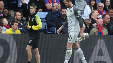 Ralf Fahrmann was replaced by Michael McGovern on 22 minutes after limping off with a groin injury.