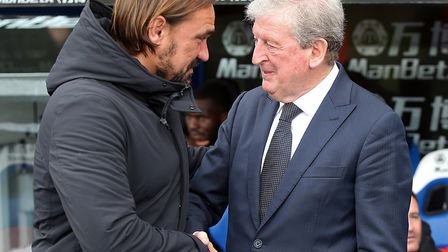 Crystal Palace manager Roy Hodgson greets Norwich City head coach Daniel Farke prior to his side's 2