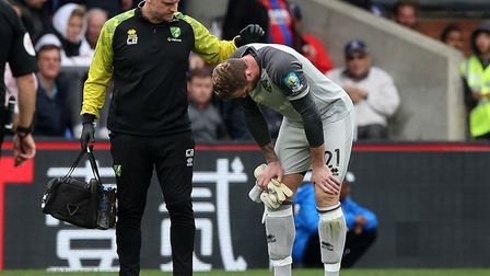 Norwich City keeper Ralf Fahrmann's Premier League debut was cut short by injury at Crystal Palace P